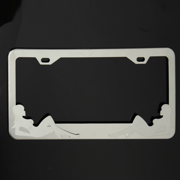 Sexy Girls Stainless Steel Polished License Plate Frames