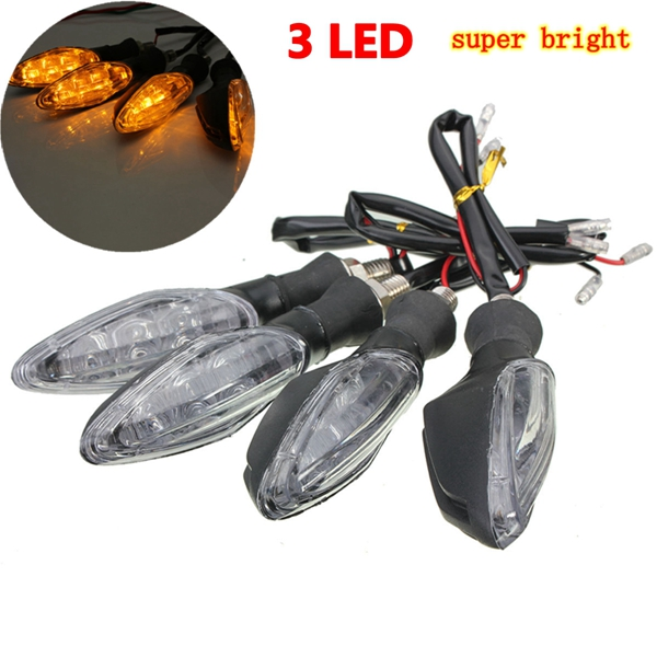 4pcs 12V Universal Motorcycle Bike 3 LED Blinker Turn Signal Indicator Light Lamp