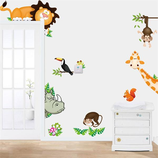 Animals Zoo Jungle Cartoon PVC Wallpaper Board Stickers Decals Kids Nursery Baby Room Decoration DIY Monkey