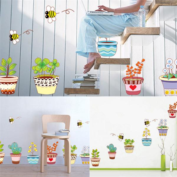 6 Colorful Potted Flowers Plants Bee Wall Stickers Rural Garden Removable Art Decal Decoration Kids Room DIY