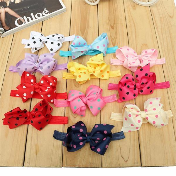 Cute Kids Girl Bowknot Polka Dot Ribbon Baby Infant Toddler Children Elastic Bow Hair Band Headwear Accessories