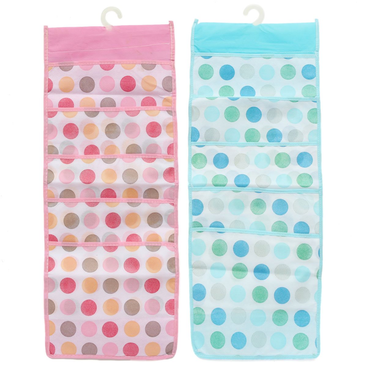 5 Layers Pink Blue Dots Socks Hang Underpants Nonwoven Plastic Hook Transparent Breathable Shirts Storage Bags