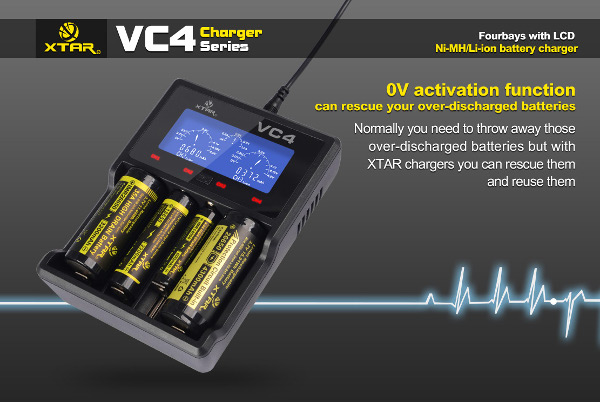 XTAR VC4 LCD Screen USB Battery Charger For 18650 26650 14500 Battery