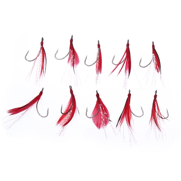 200pcs/set Single Hook Feather Fishing Bait Lure Hooks for Grass Carp