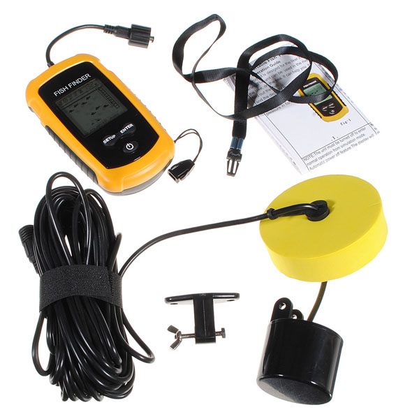 Sonar Sensor Fish Finder Alarm Beam Transducer 100m LCD Portable