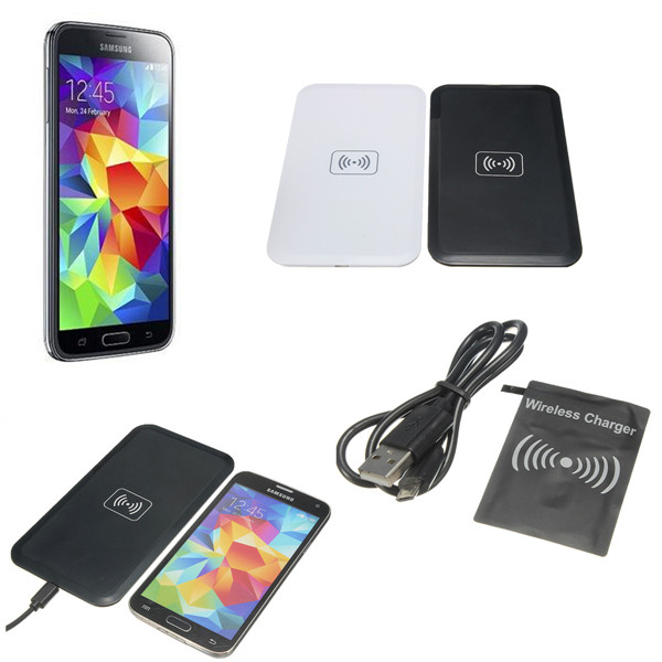 Qi Wireless Charging Pad+Receiver Card+USB Cable For Samsung Galaxy S5