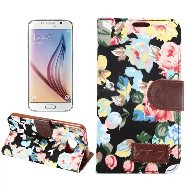 Flower Cloth TPU Leather Flip-open Case For Samsung Galaxy S6 G9200