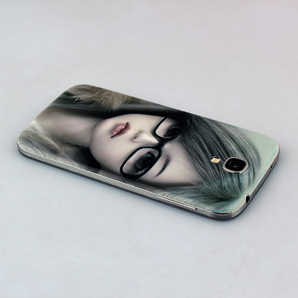 Glasses Girl Embossment Phone Back Cover For Samsung Galaxy S4 i9500