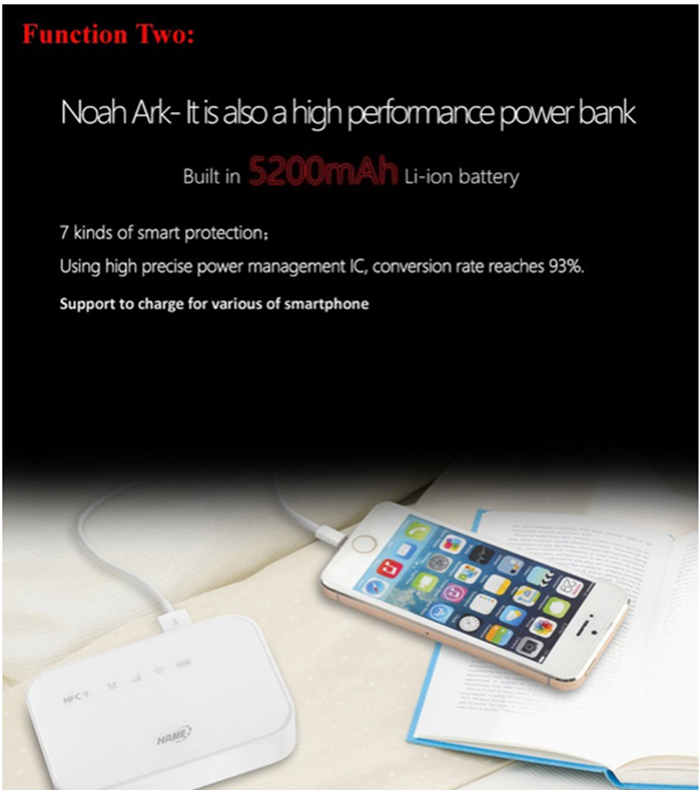 HAME A19 3G WIFI Wireless Router Portable 5200mAh Mobile Power Bank