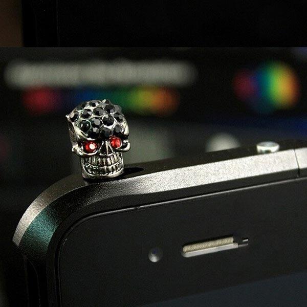 Halloween 3.5mm Diamond Skull Dust Plug Earphone Plug For Cell Phone