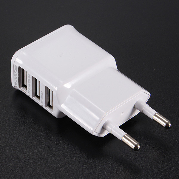 EU 3 USB Ports Travel Wall Charger Power Adapter For Mobile Phone