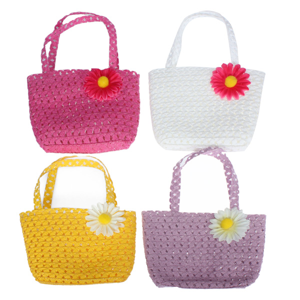 Summer Tote Straw Girls Kids Flower Straw Beach Cap Handbag Set
