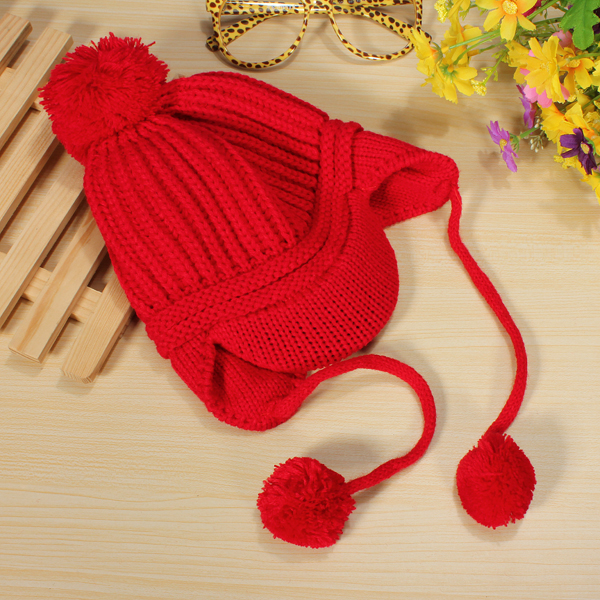 Double Balls Girl Boy Baby Child Cap Fall Winter Warm Knitted Hat
