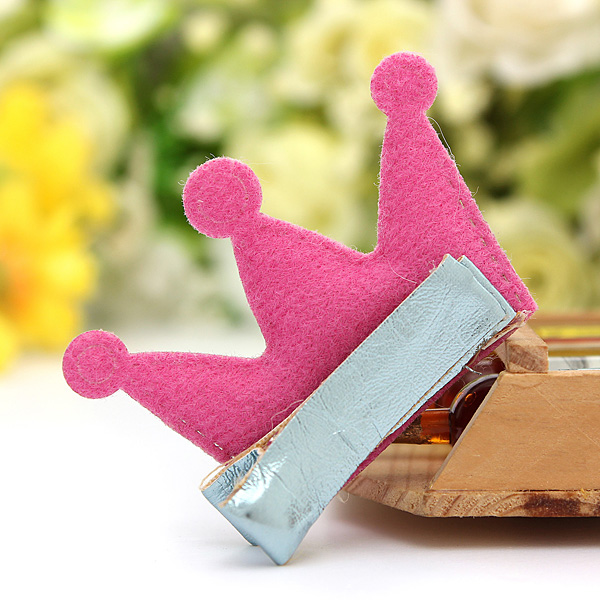 Girl Baby Leather Imperial Crown Hair Clip Accessory Princess Barrette