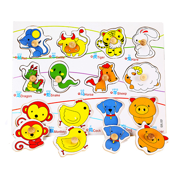 Child Education Toy Kids Wooden Puzzles Knob Chinese Zodiac Animal Set Cognitive
