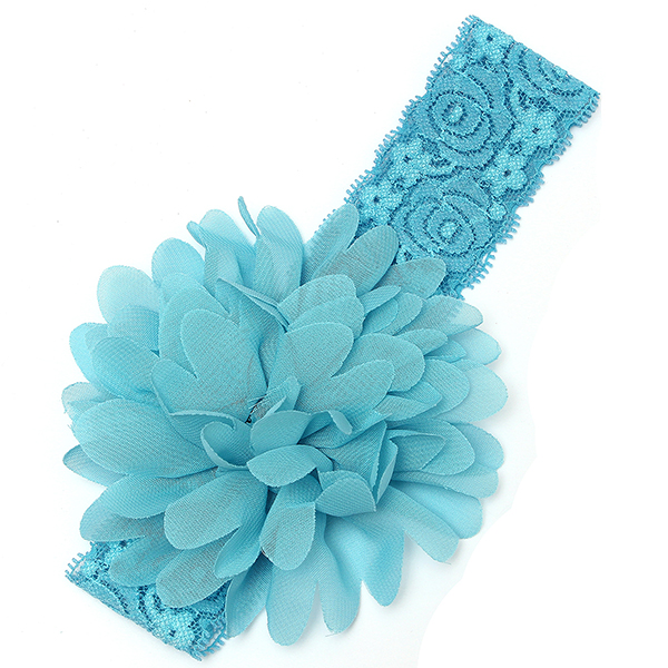 Baby Kid Girls Chiffon Lace Soft Elastic Large Flower Headbrand