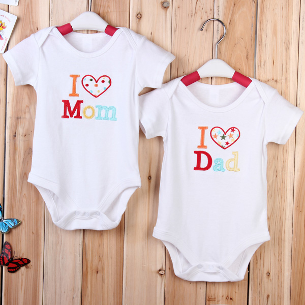 Baby Infant Newborn Cotton Love Mom Dad Romper Clothes Jumpsuit