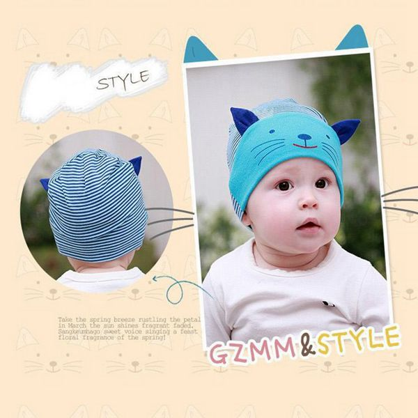 Baby Girl Boys Cute Animal Cat Soft Cotton Baggy Stripe Hat Cap