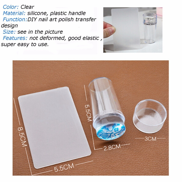 Transparent Silicone Nail Art Stamper Stamping Template With Cap Scraper