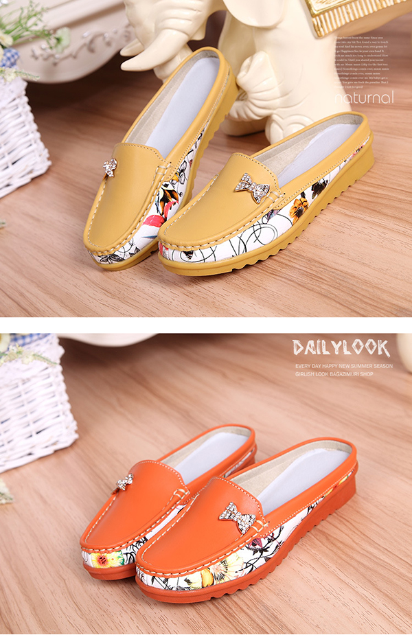 Women Flats Shoes Comfortable Slip On Casual Leather Flat Loafers Sandal Slipper Shoes