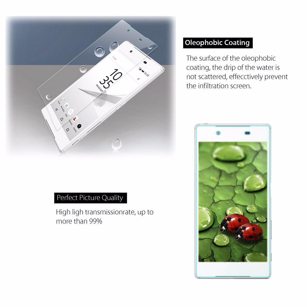 9-Hardness Front Tempered Glass Screen Protector Film For Sony Xperia Z5 Compact