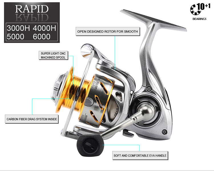 SeaKnight RAPID 3000 4000 5000 6000 6.2:1 4.7:1 11BB Spinning Fishing Reel Salt Water Fishing Wheel