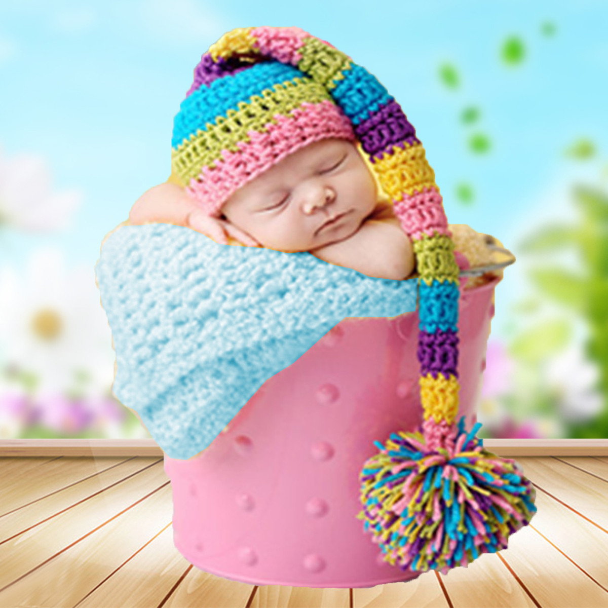 0-3 Months Baby Colorful Tail Hat Crochet Knit Cap Costume Photography Photo Prop