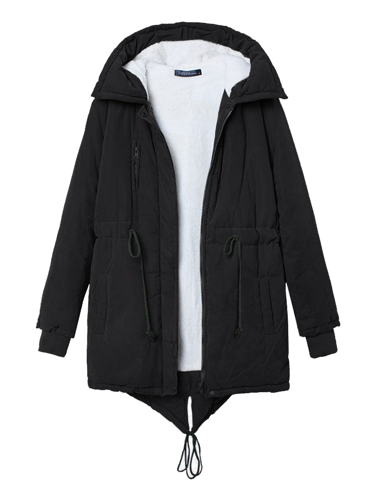 Women Winter Warm Fleece Hooded Fleece Cotton Outdoor Coats