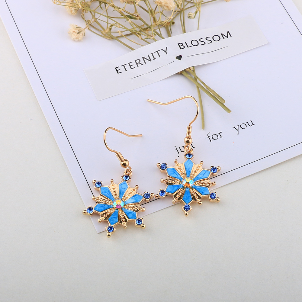 Bohemian Turquoise Rhinestones Flower Dangle Earring