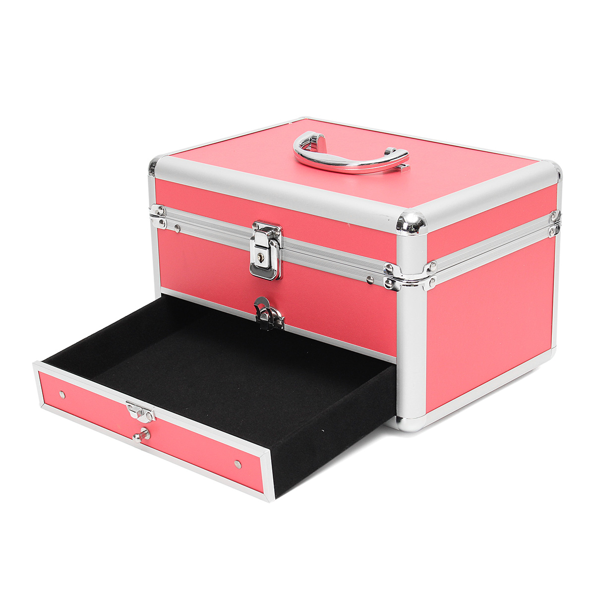 Aluminum Pink Makeup Train Case Jewelry Box Nail Polish Cosmetic Organizer Storage Handbag