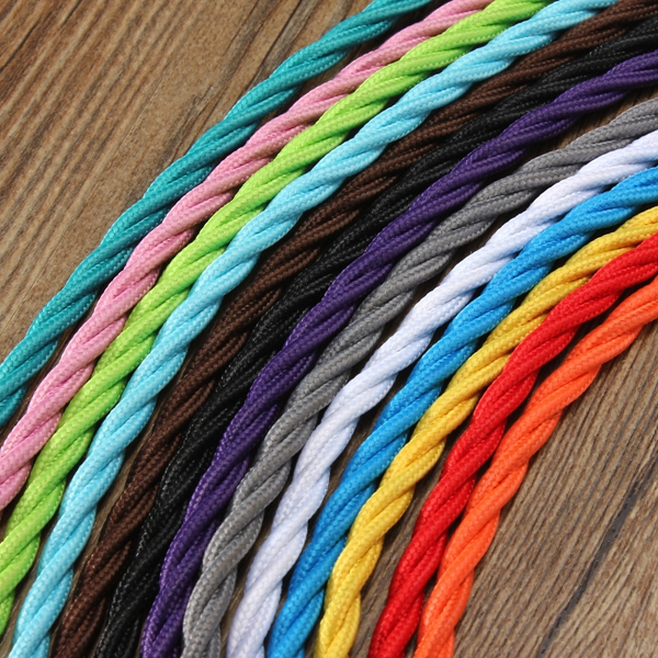 10m Vintage Colored DIY Twist Braided Fabric Flex Cable Wire Cord Electric Light Lamp