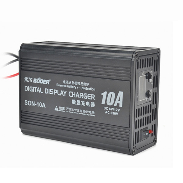 Suoer 220V 10A Smart Fast Battery Charger LCD Digital Display PWM For 12V/6V battery Car Motorcycle