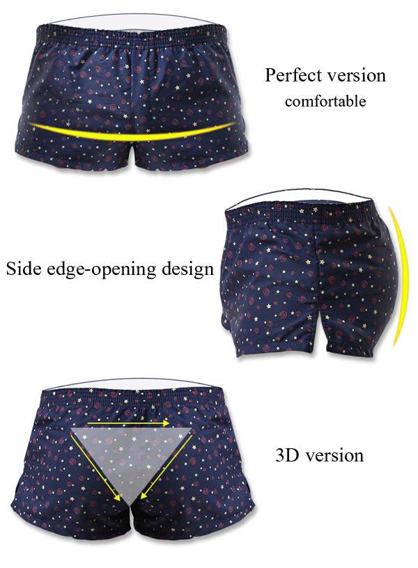 Mens Printing Arrow Shorts Casual Sexy Home Low Waist Cotton Inside Pouch Breathable Boxers