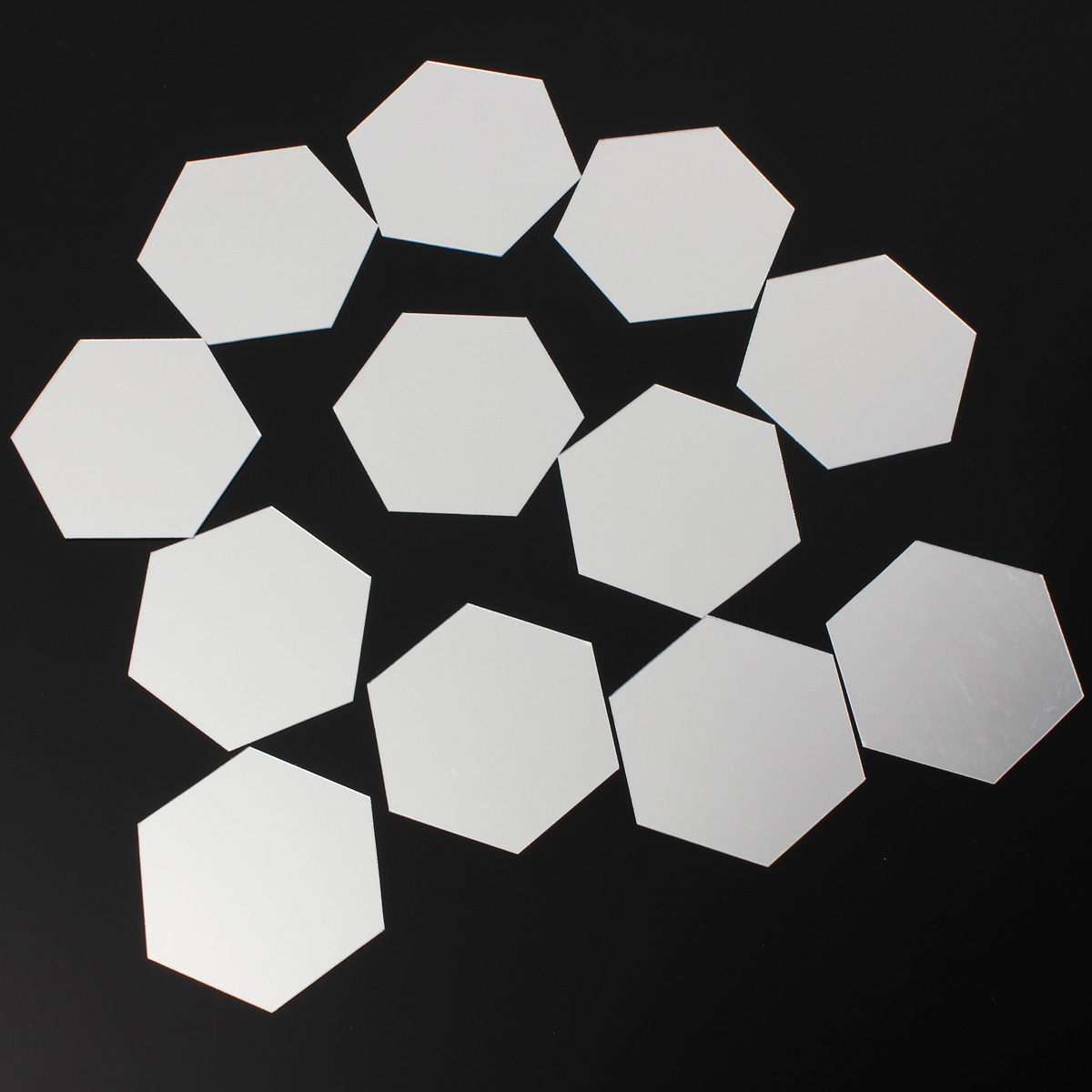 12Pcs 8cm Mirror Wall Sticker Hexagon Removable Acrylic 3D Mirror DIY Home Room Decor Art