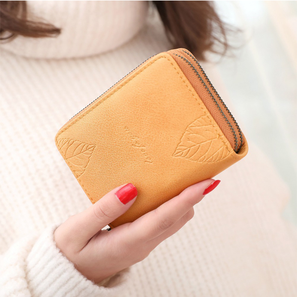 Women Double Zipper Purse Key Bag Multifunctional Folding Or
