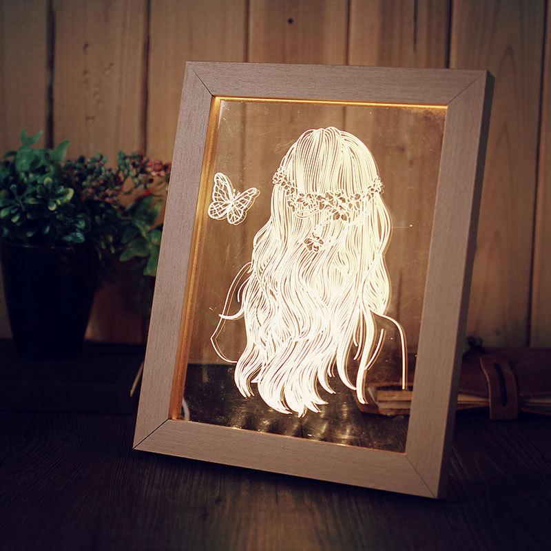 KCASA FL-716 3D Photo Frame Illuminative LED Night Light Wooden Girl Desktop Decorative USB Lamp For Bedroom Art Decor Christmas Gifts