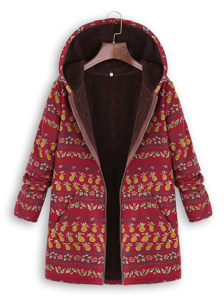 Plus Size Women Pineapple Print Fleece Winter Hooded Coats