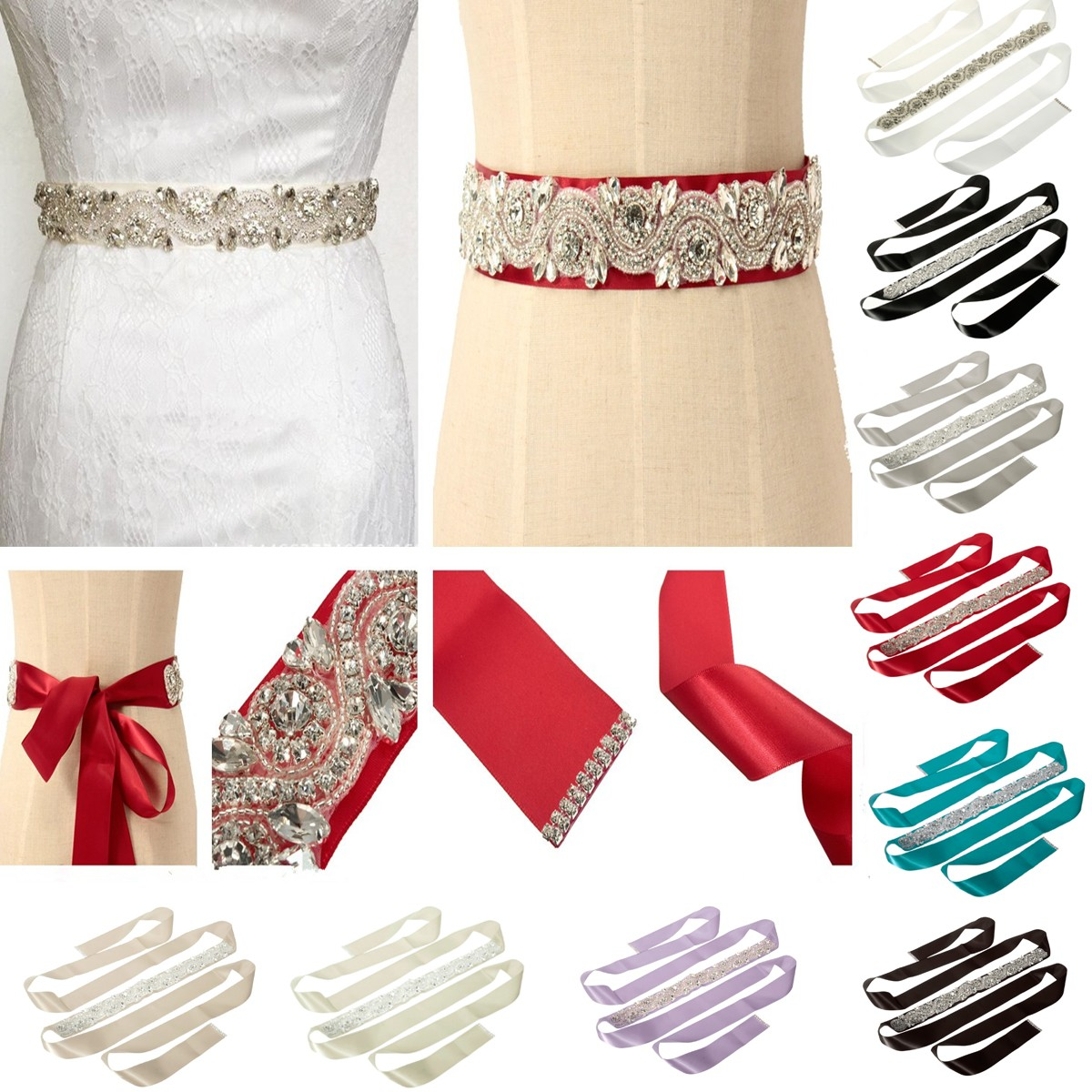 Bride Rhinestone Bead Ribbon Elegant Party Dress Sash Belt Wedding Cocktail Dress Accessories