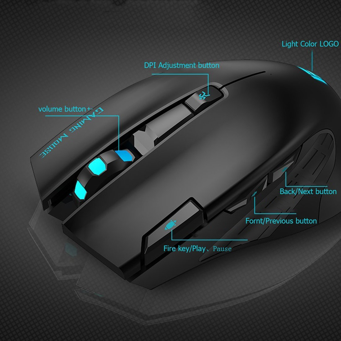 I750 Wireless 2.4G 3000DPI 6 Keys Optical Gaming Mouse Mice For PC Laptop Office LOL With Fire Key