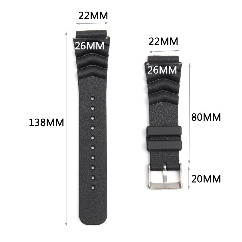 22MM Replacement Black Band Strap Rubber Wave Vent For SEIKO