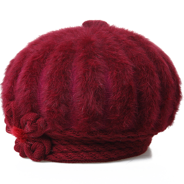 Womens Winter Artificial Fur Beret With Flower