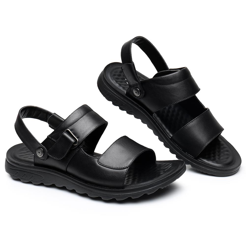 US Size 7.5-10 Male Men Leather Flat Sandals Beach Massage Soft Slope With Slippers Shoes