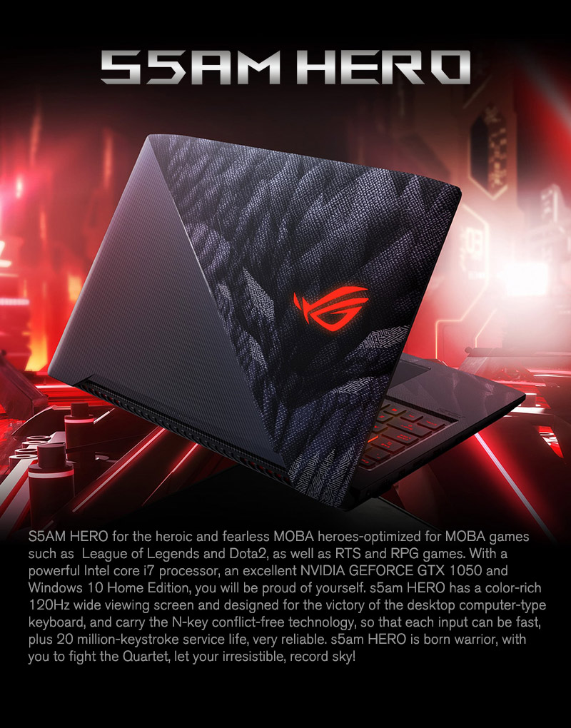 ASUS 15.6 inch Gaming Laptop ROG STRIX Hero S5AM Hero Intel Core I7 7700 8GB RAM 1TB HDD 256 SSD