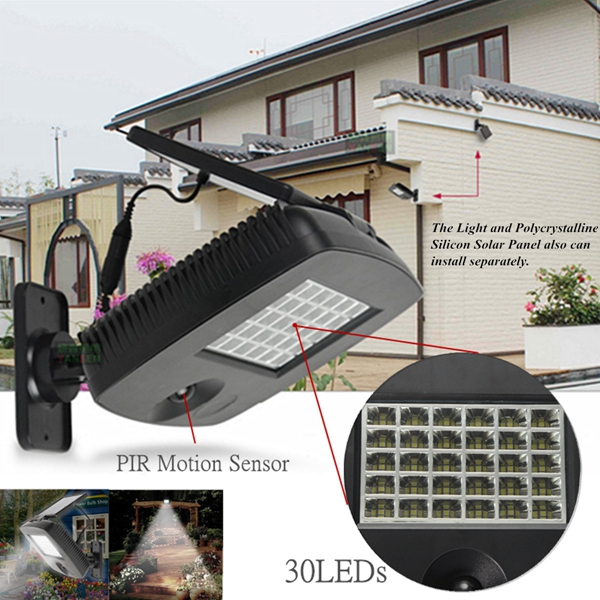 Solar Power 30 LED PIR Motion Sensor Security Spotlight Wall Lamp for Outdoor Garden