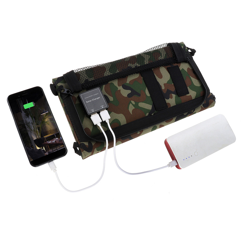 Camouflage 25W Solar Charger Portable Foldable Solar Panel Solar Powered Battery Charger with Dual USB Ports