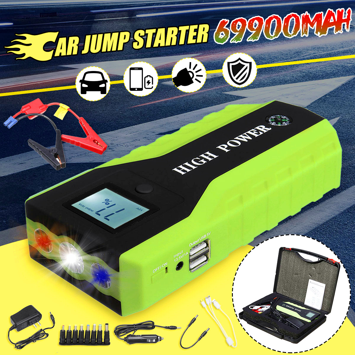 69900mAh 110-240 V 13.5 V Car Jump Starter con caricatore rapido USB Built-in LED illuminazione multifunzione Car Emergency Power Bank