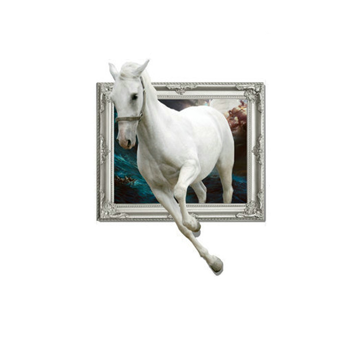 White Horse 3D Wall Decals PAG STICKER Removable Wall Art Animal Stickers Home Decor Gift