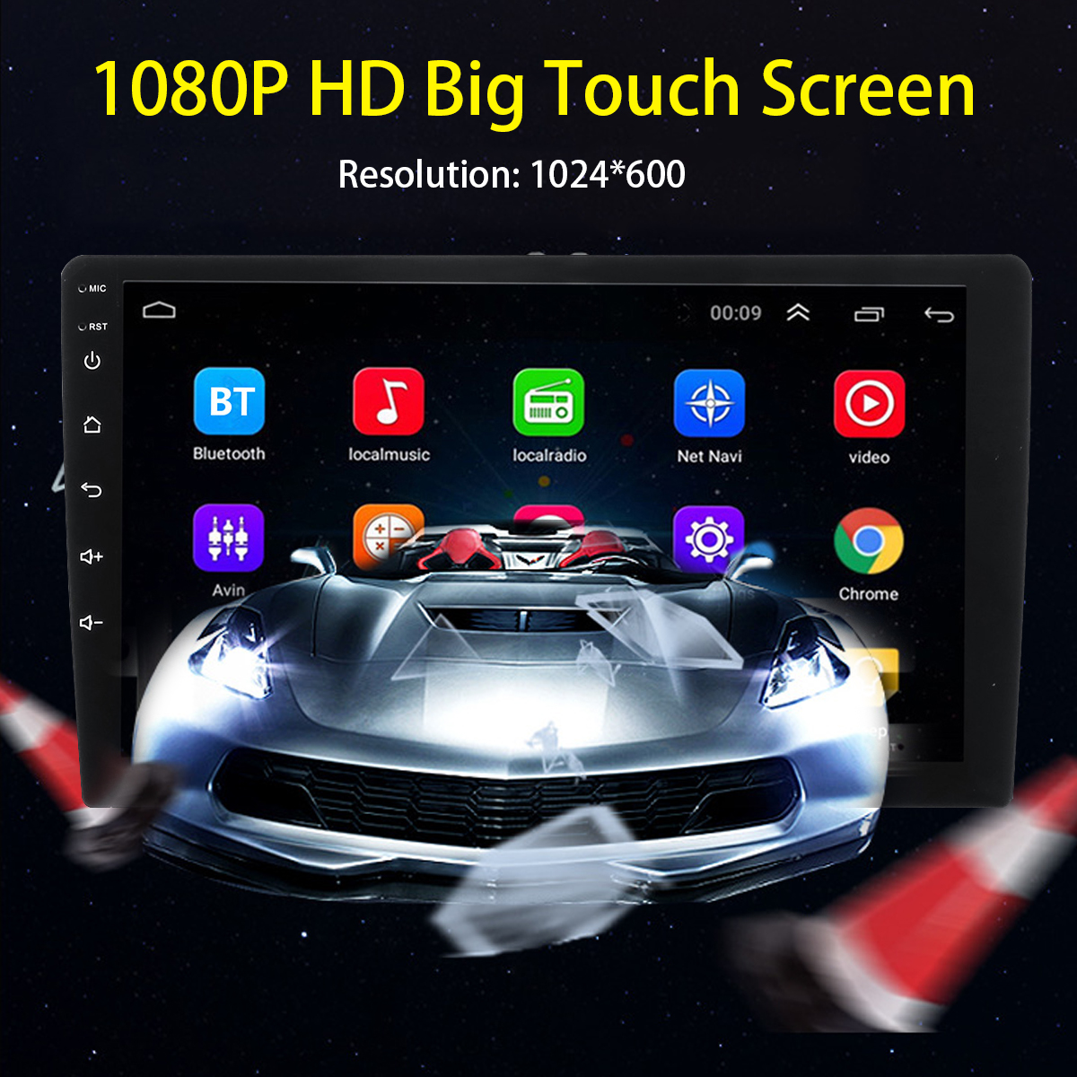 10.1 Inch Android 8.1 Car Stereo Radio MP5 Player HD Touch Screen GPS Navigation 4G WIFI DAB Support Rear Camera