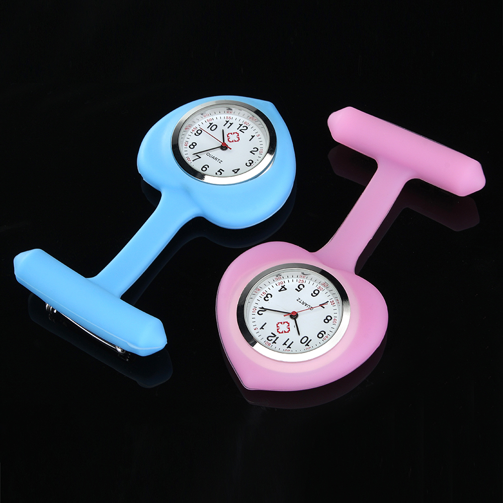 Silicon Colorful Sweet Heart Pocket Watches Clip Nurse Watch