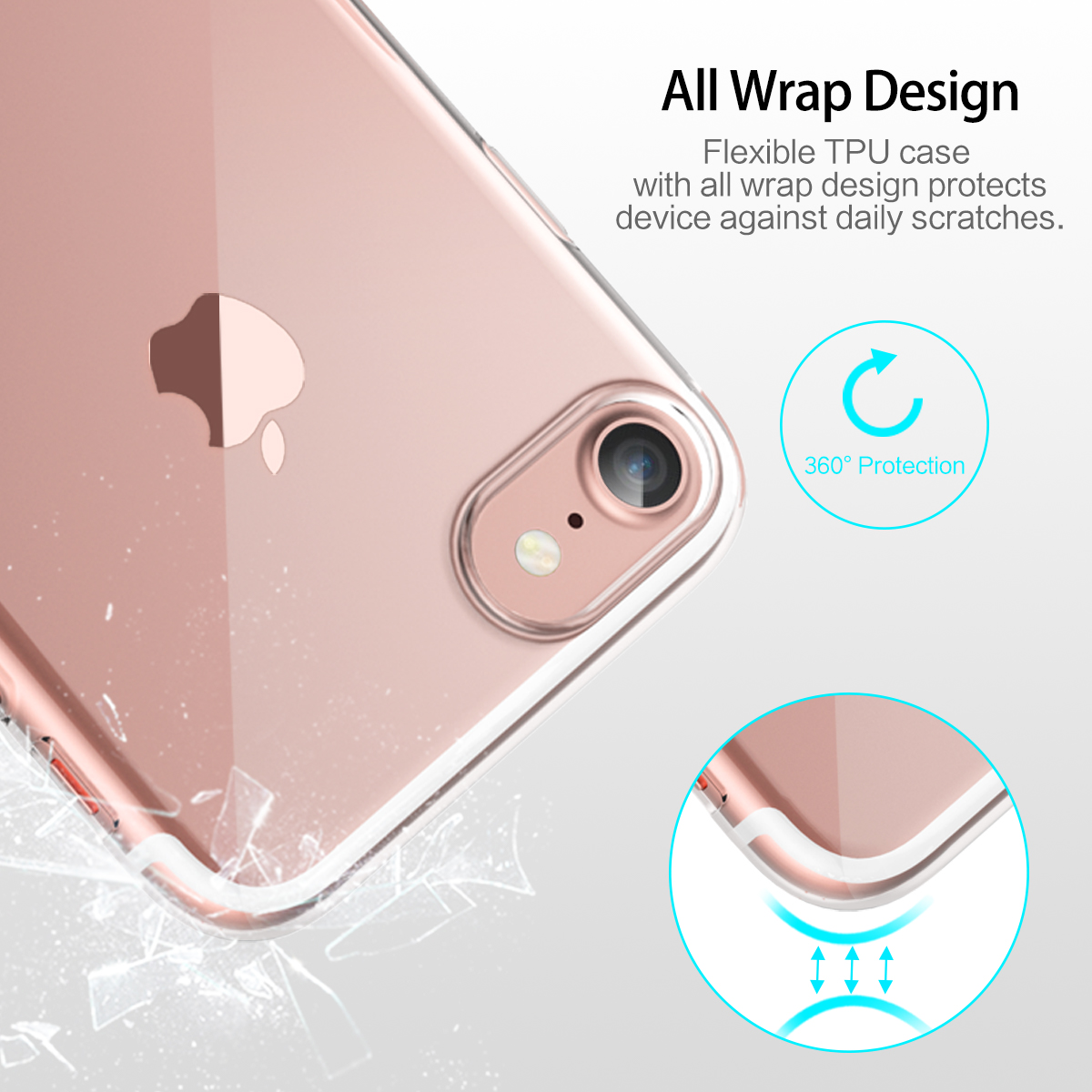 Rock Crystal Kickstand TPU Case With Dust Plug For iPhone 7/8